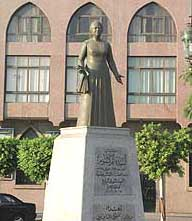 A view of her statue and the tower named for her.