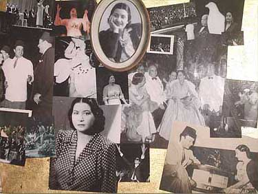 Collage of pictures in her museum spanning Umm Kalthoum's life
