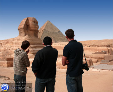 The BBC Reporters and The Sphinx, Giza, Egypt