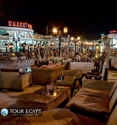 Cafes line the strip in Neama Bay, Sharm El Sheikh