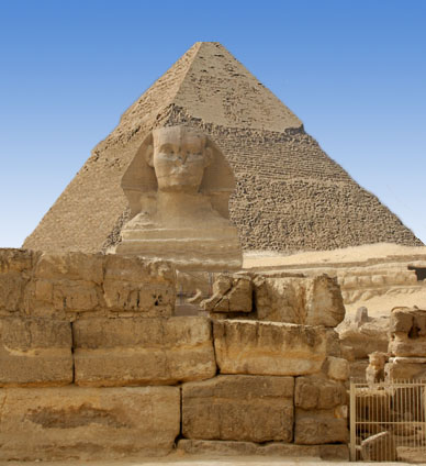 The Sphinx and pyramid, Giza, Egypt