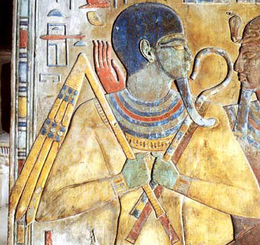 A very rare depiction of Osiris as Res-udja (he who awakens intact) from the tomb of Seti I. Looking more like Ptah than Osiris, he holds the typical crook and flail.