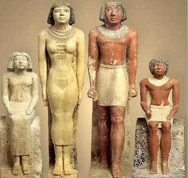 The Family of Neferherenptah from Giza showing a typical  (though upper class) family and their dress