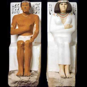 Statues of Rahotep and Nofret from their Mastaba at Medum