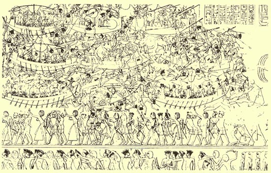 The Sea Battle of Ramesses III's Encounter with the Sea People