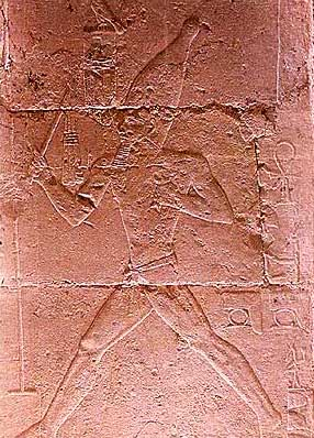 King Djoser dressed in his Sed-Festival robe runs the course