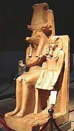 Statue of Sobek and Amenhotep III at the Luxor Museum