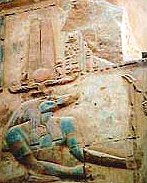 Sobek, Wearing the Plumes, and Sun Disk, on a Temple Wall