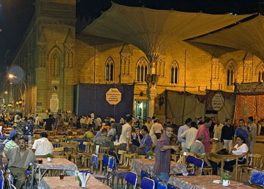 The first night of Ramadan at the Al-Azhar Mosque is not very crowded as it is later in the month