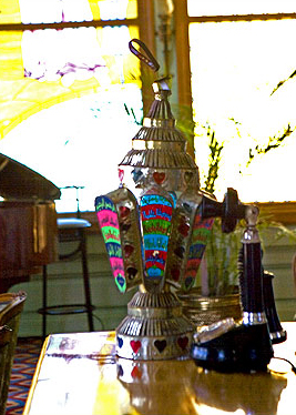 A very typical Ramadan  lantern, called a Fanoos, at the El Salamlek Palace Hotel in Alexandria