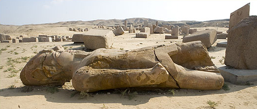 Poor old, tired Ramesses the Great rests in the sand at Tanis