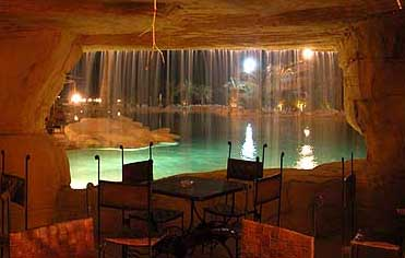 Seating beneath the pool waterfall at the Swiss Inn at Stella di Mare at Ain Soukhna