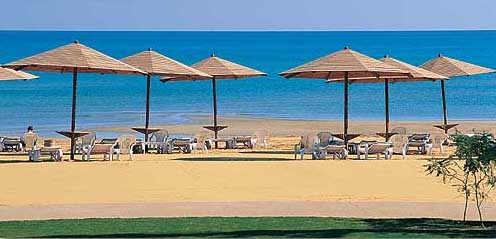 The fine beach of the Swiss Inn at Stella di Mare at Ain Soukhna