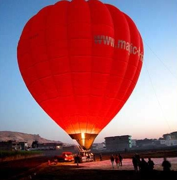Our balloon on the West Bank at Luxor prior to take-off