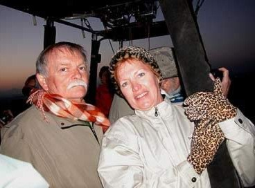 James and Kathy aboard the  balloon over the West Bank at Luxor