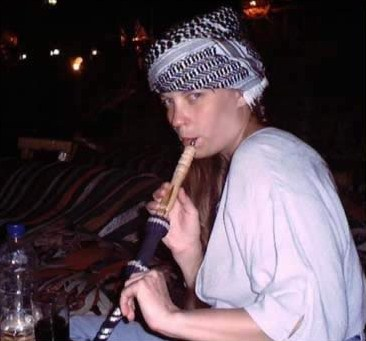 Tigger (Rachel) gets  Egyptianized at the Bedouin Cafe in Sharm el-Sheikh