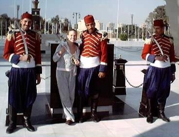 Tigger (Rachel) disarms the Ceremonial Guards at the Sadat Memorial earlier in the trip to Egypt