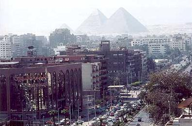A view of the Pryamids over Giza, a part of Greater Cairo