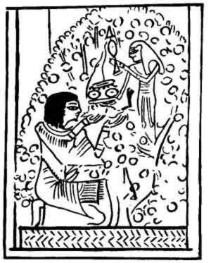 The goddess Hathor giving the scribe Ani meat and drink from out of a sycamore tree which grows by the side of a stream