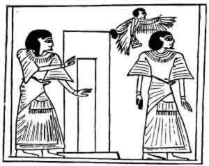 The scribe Ani passing through the door of the tomb. outside are his shadow and his soul in the form of a human-headed bird.