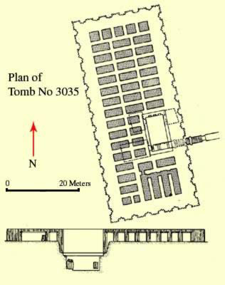 Plan of Tomb No. 3035 at Saqqara in Egypt
