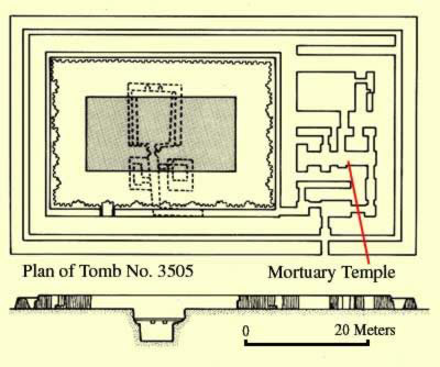 Plan of Tomb No. 3505 at Saqqara in Egypt