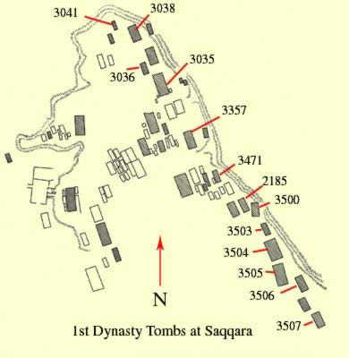 A map of the 1st Dynasty Tombs at Saqqara