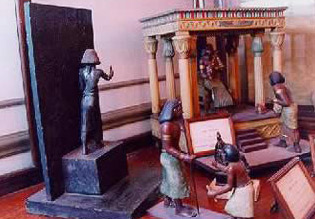 A scene showing mail being submitted to one of Ancient Egypt's Pharaohs