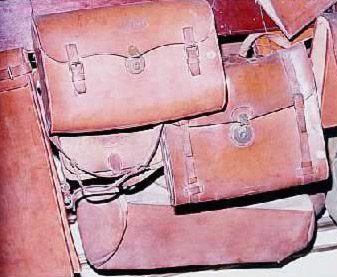 Samples of the postman's leather bags used in yesteryears