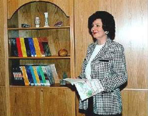 "A full-size wax statue of Mrs Susan Mubarak holding a book to stress her call for ""Reading for All"""