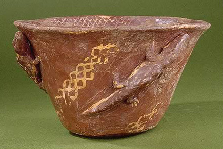 BOWL WITH CROCODILES AND GEOMETRIC DESIGN