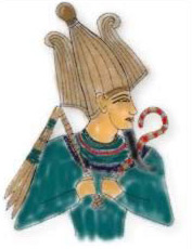 A painting of Osiris that is located in the Tomb of Sinnedjem, who was in charge of decorating the tombs of the kings and queens.