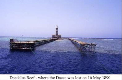 Daedalus Reef - where the Dacca was lost on 16 May 1890
