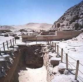 The entrance to a possible tomb belonging to Hotepsekhemwy at Saqqara