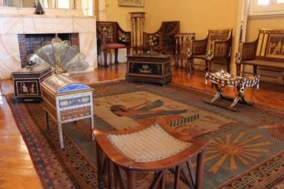 Pharaonic style living area in King Farouks rest house.