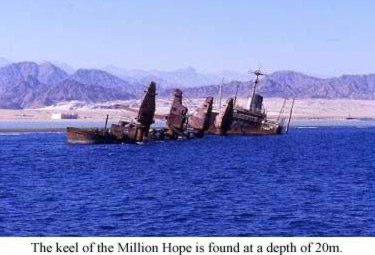 The keel of the Million Hope is found at a depth of 20m