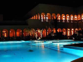 View of the Pool and Hotel at night at the Oberoi Sahl Hasheesh Hotel, Hurghada