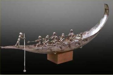 Silver boat from the Tomb of Queen Ahhotep I at Dra Abu el-Naga dating to the 18th Dynasty
