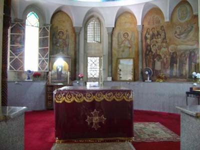 The altar in Saint Marks shrine in al-Abbasiyya Cathedral