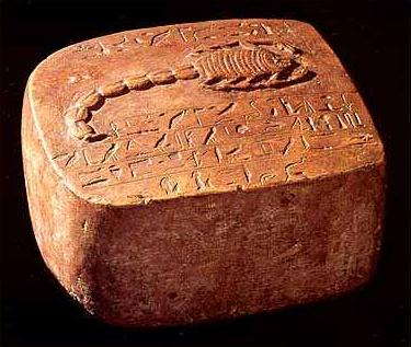 The Scorpion Stone, showing a very fine carving of an Egyptian scorpion