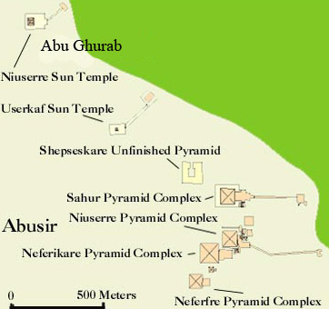 Map of the Sun Temples at Abu Ghauob in Egypt