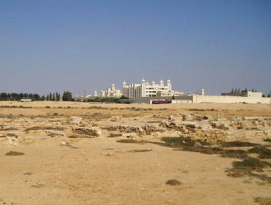 The ruins of Abu Mina with the modern monastery in the distance