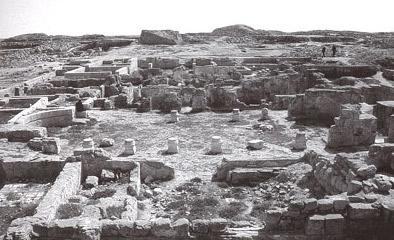 An older photo of the ruins at Abu Mina