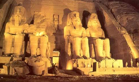 Abu Simbel Exterior at Night