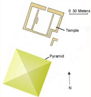 Layout of  the Pyramid Complex of Ahmose at Abydos in Egypt