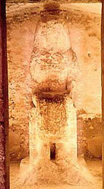 The statue of Ahmose in the shrine at the rear of his tomb