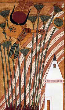 Hathor emerges from the mountain in the Book of the Dead