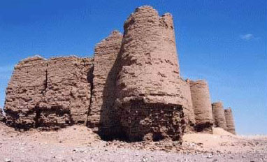 A view of one of the towers in the fortress at al-deir in the Kharga Oasis