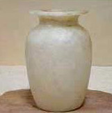 A fine, white hand carved alabaster vase