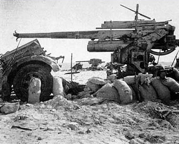 German Guns captured, and note the barrel, disabled at Alam Nayal